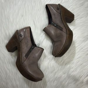 Born Womens 7.5 Clogs Ankle Boot Leather Platform
